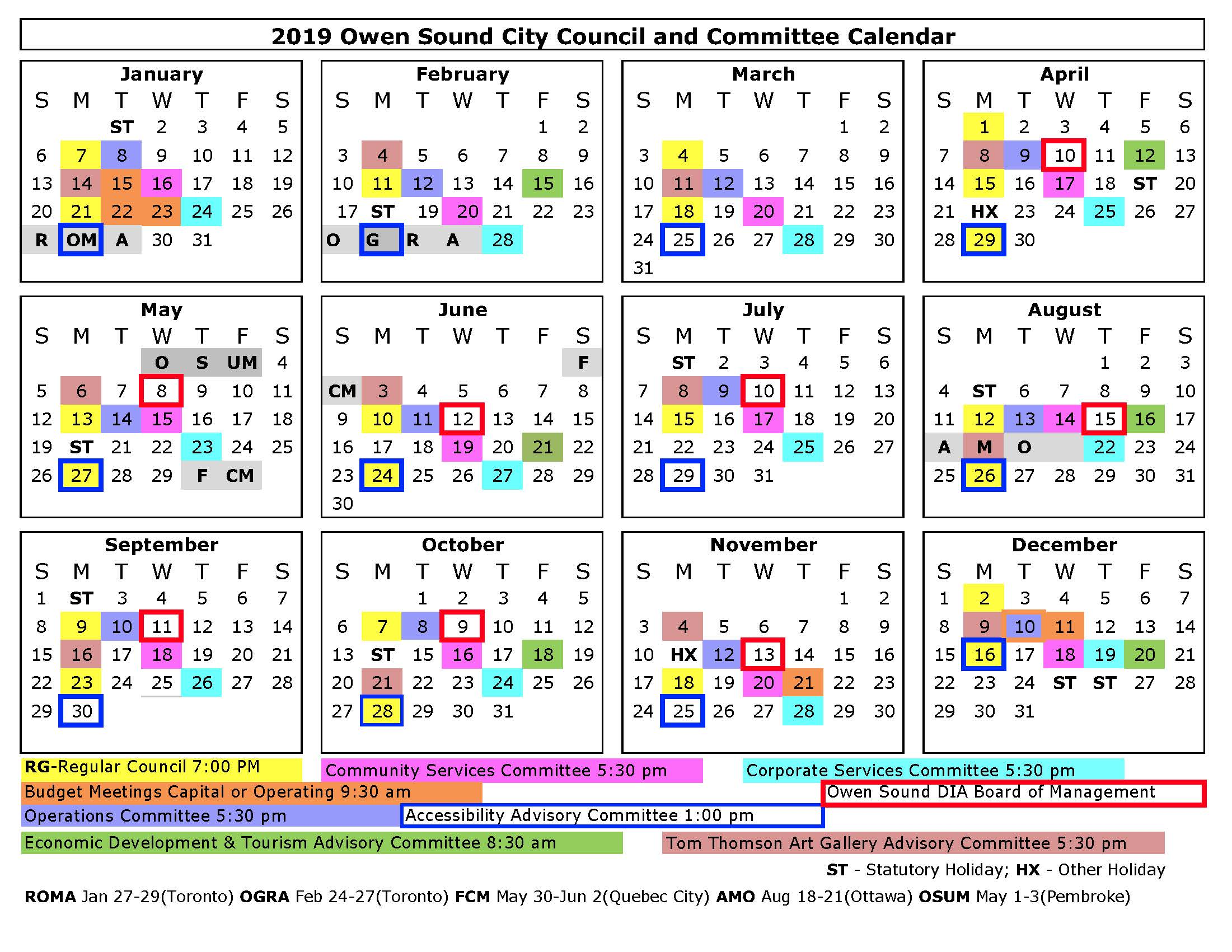 2019 Council and Committee Calendar