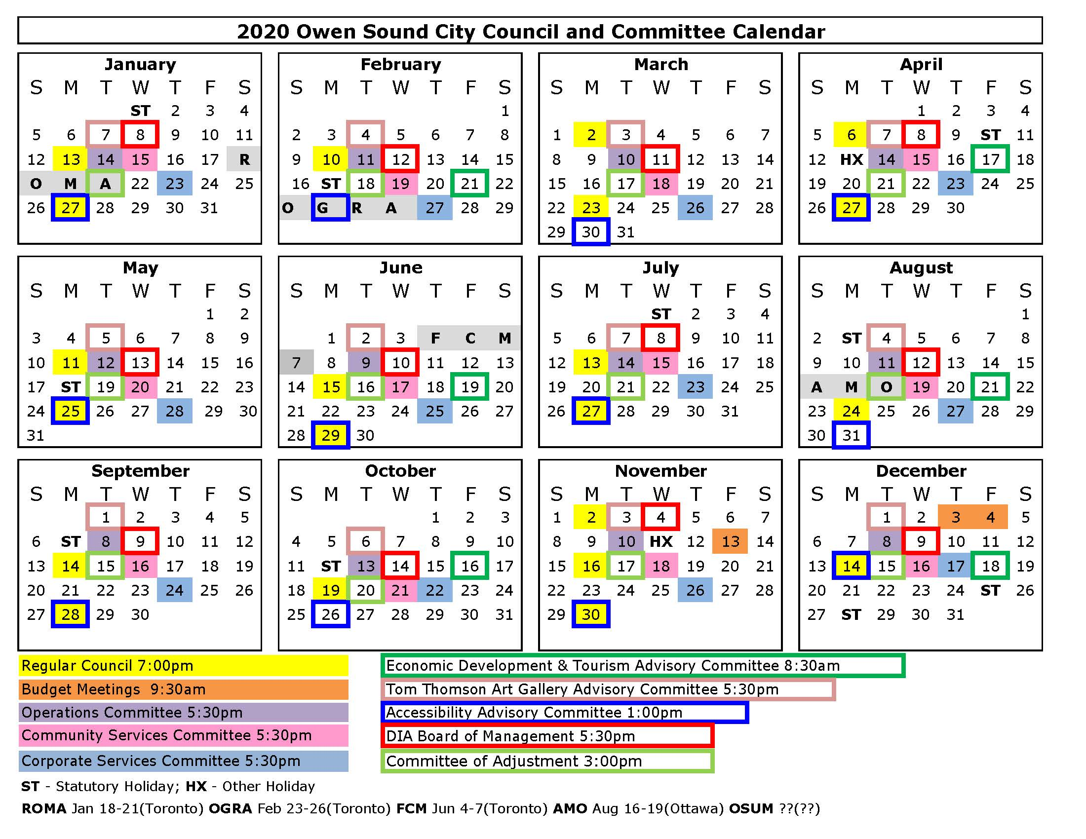2020 Council and Committee Calendar