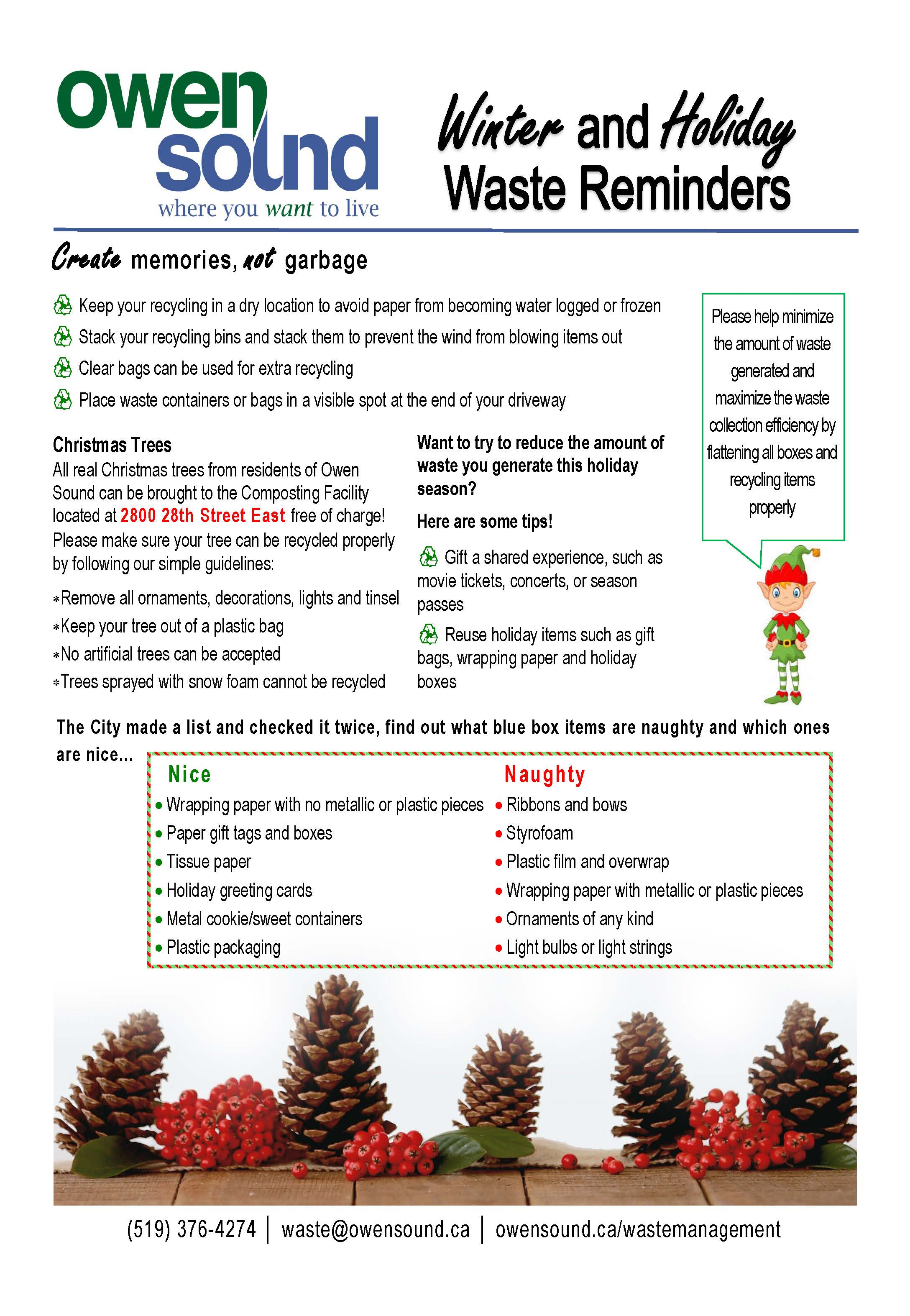 Winter and Holiday Waste Reminders