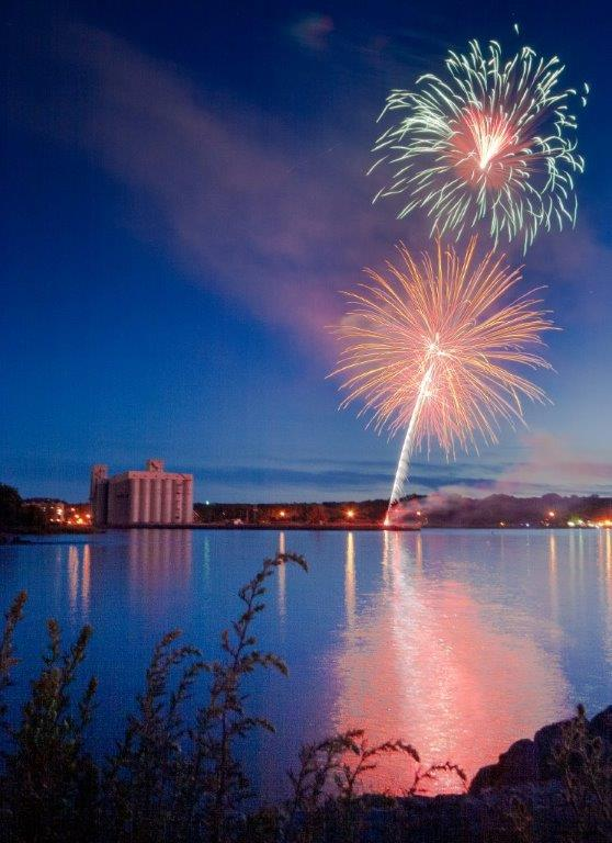 fireworks, owen sound, grain elevators, canada day