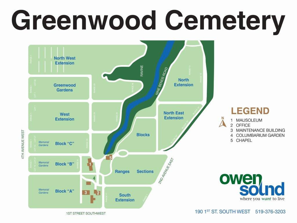 Map of Greenwood Cemetery