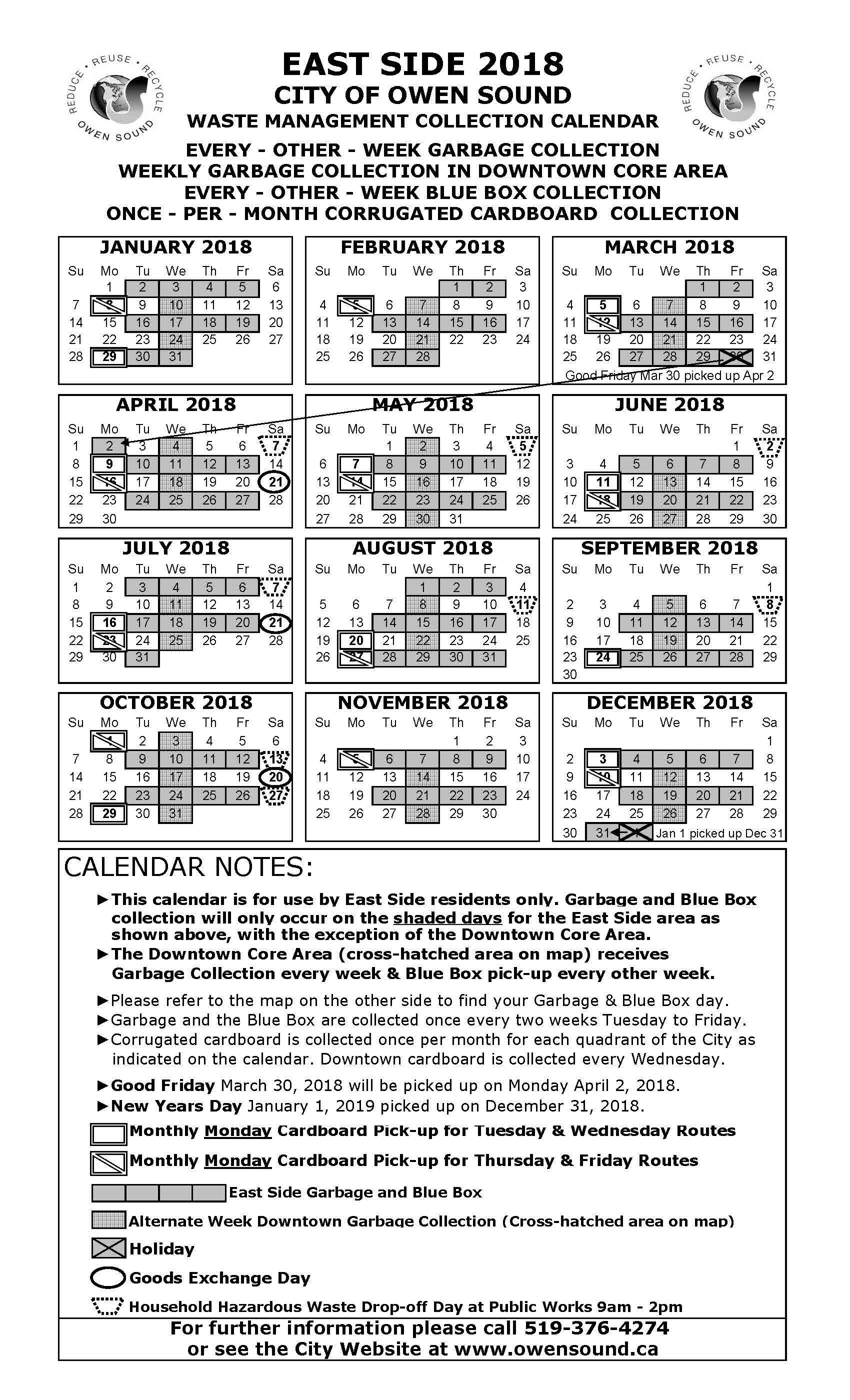 2018 East Side Garbage Collection Calendar